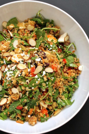 Couscous Salad with Arugula, Almonds and Olives
