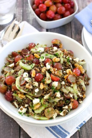 Lentil salad with grapes, walnuts and feta