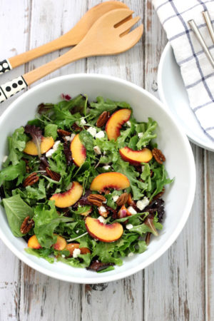 Peach Feta and Pecan Salad