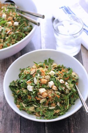 Quinoa Salad with Chickpeas Arugula Feta and Almonds