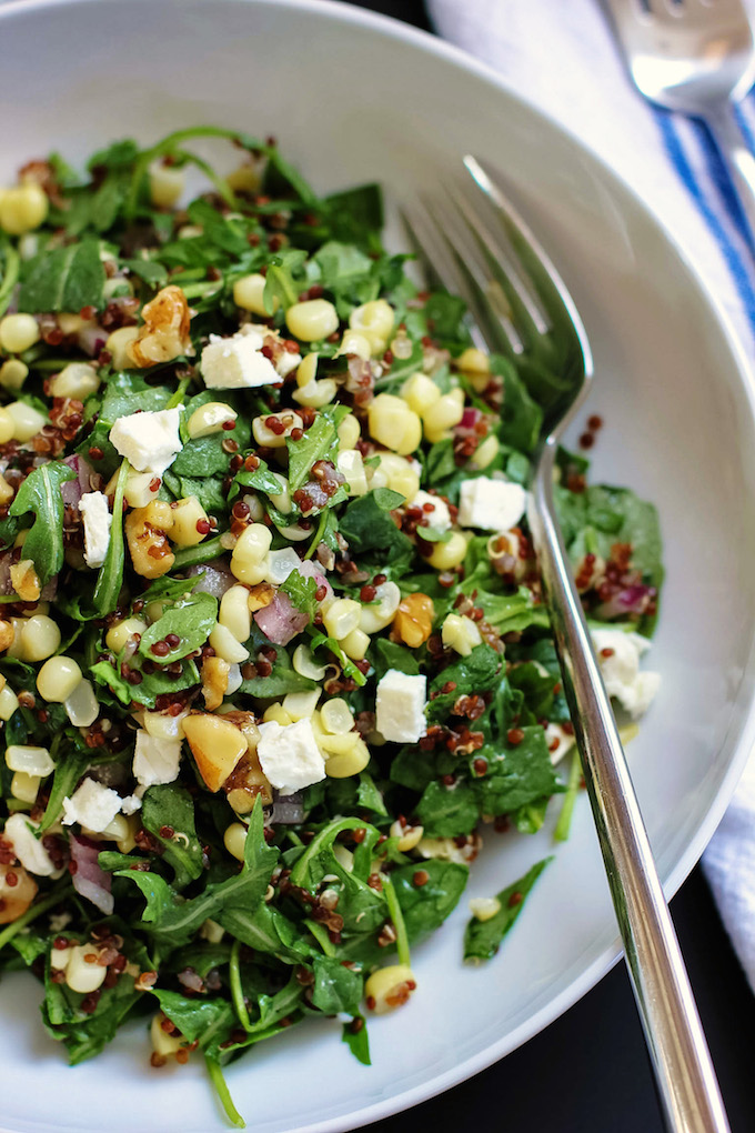 Quinoa Salad with Corn Feta Walnuts | Green Valley Kitchen