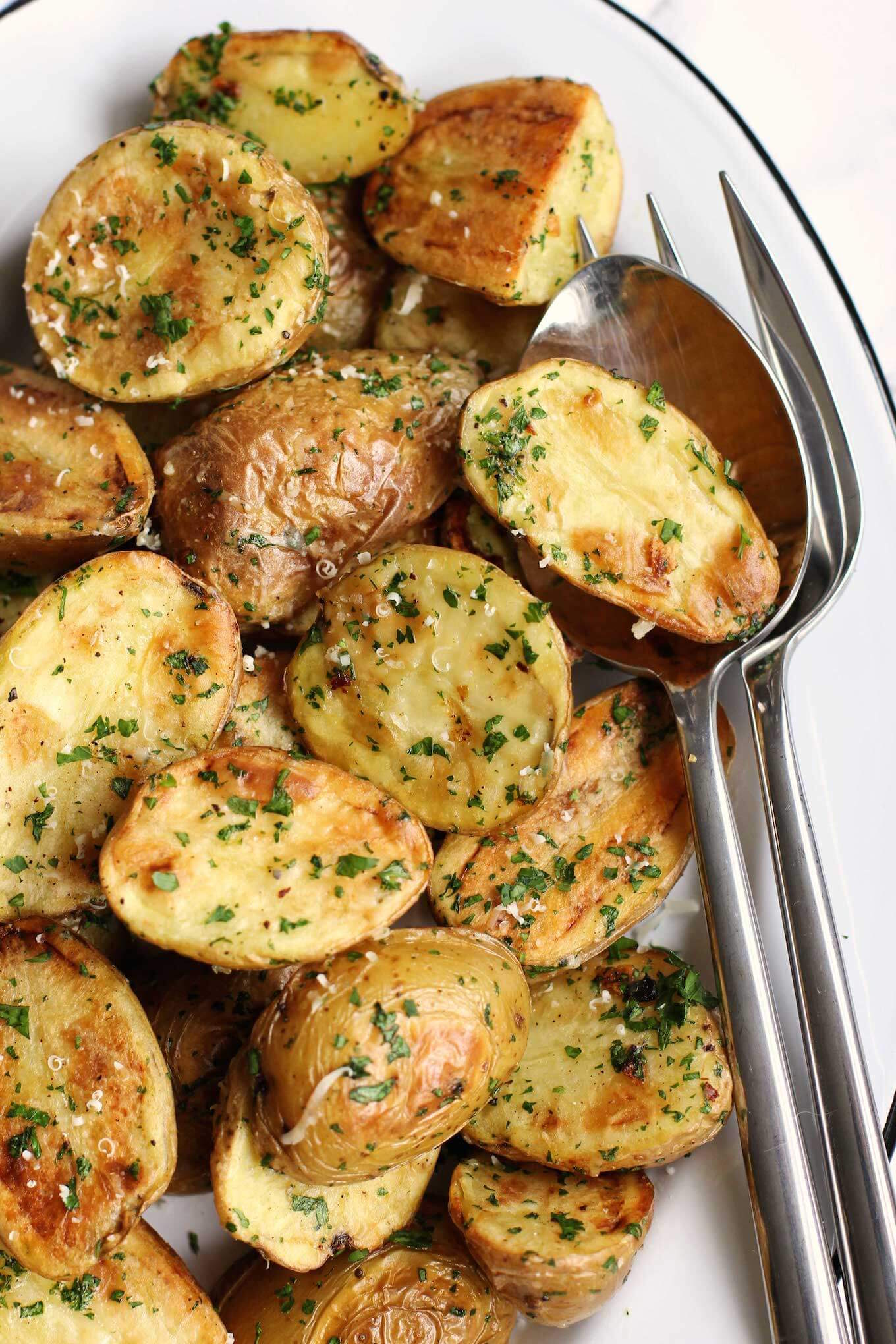 Roasted New Potatoes With Parmesan And Fresh Herbs | Green Valley Kitchen