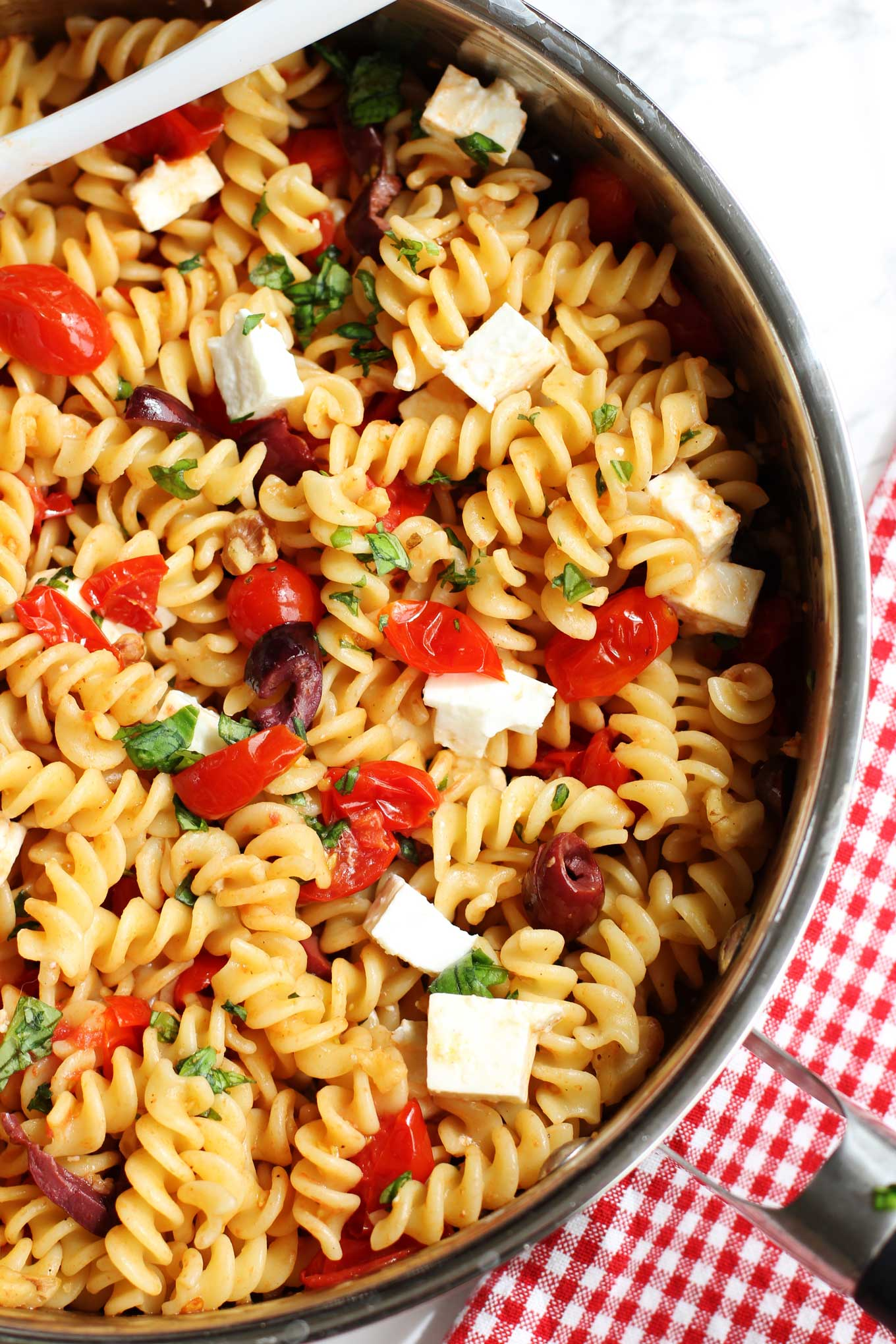 Pasta with Sautéed Cherry Tomatoes, Olives and Feta | Green Valley Kitchen
