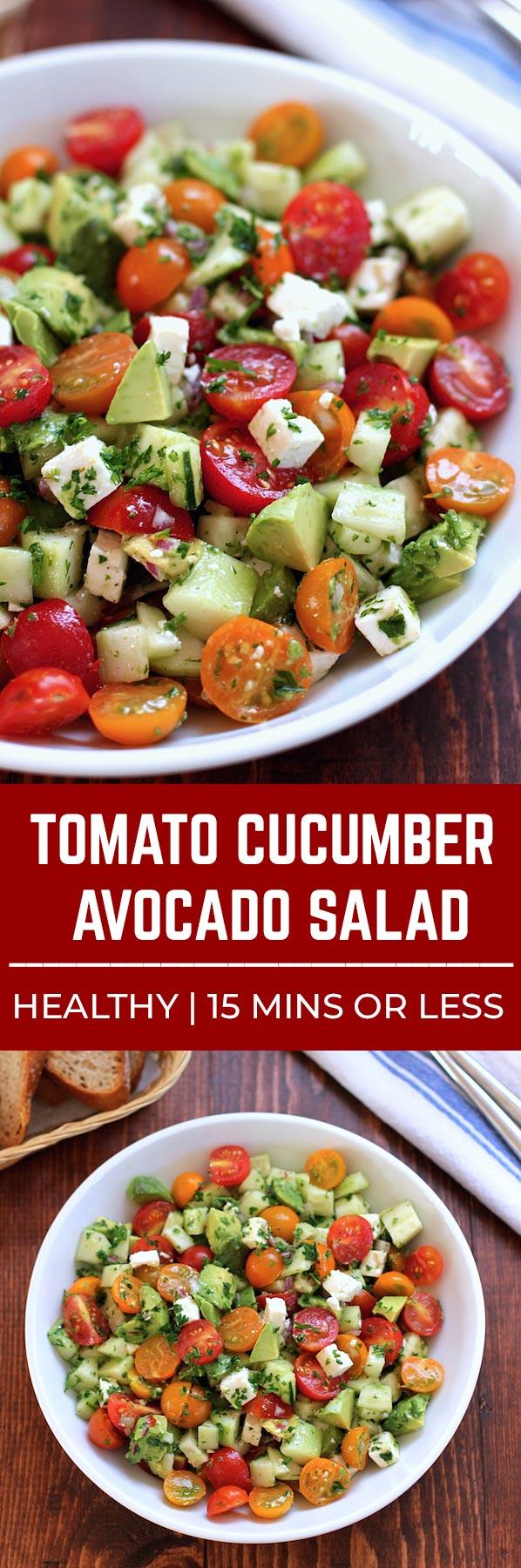 Tomate, concombre, avocat coupés en morceaux et servis dans un bol blanc.