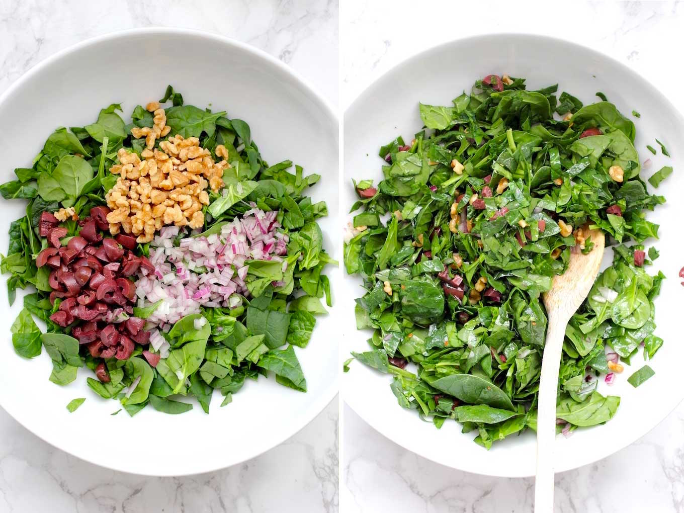 Side by side photo of spinach, olives, walnuts and red onion in a white bowl.
