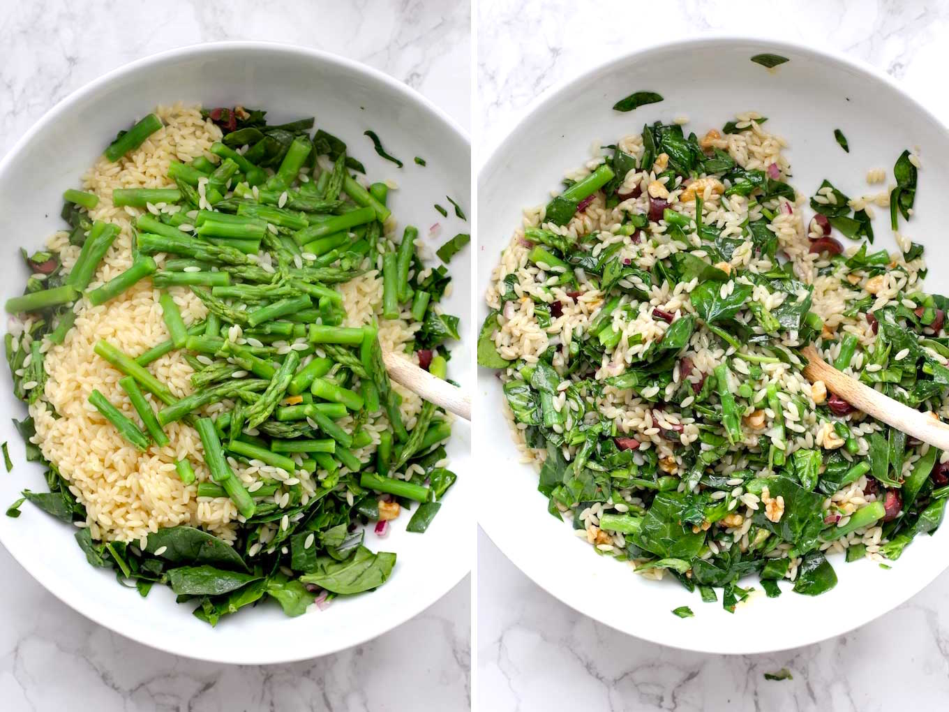 Side by side photos of orzo, asparagus and spinach mixture in a white bowl with a wood spoon.
