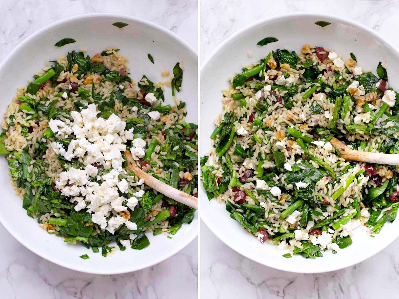 Side by side photo of orzo, asaparagus, spinach salad with feta cheese on top.