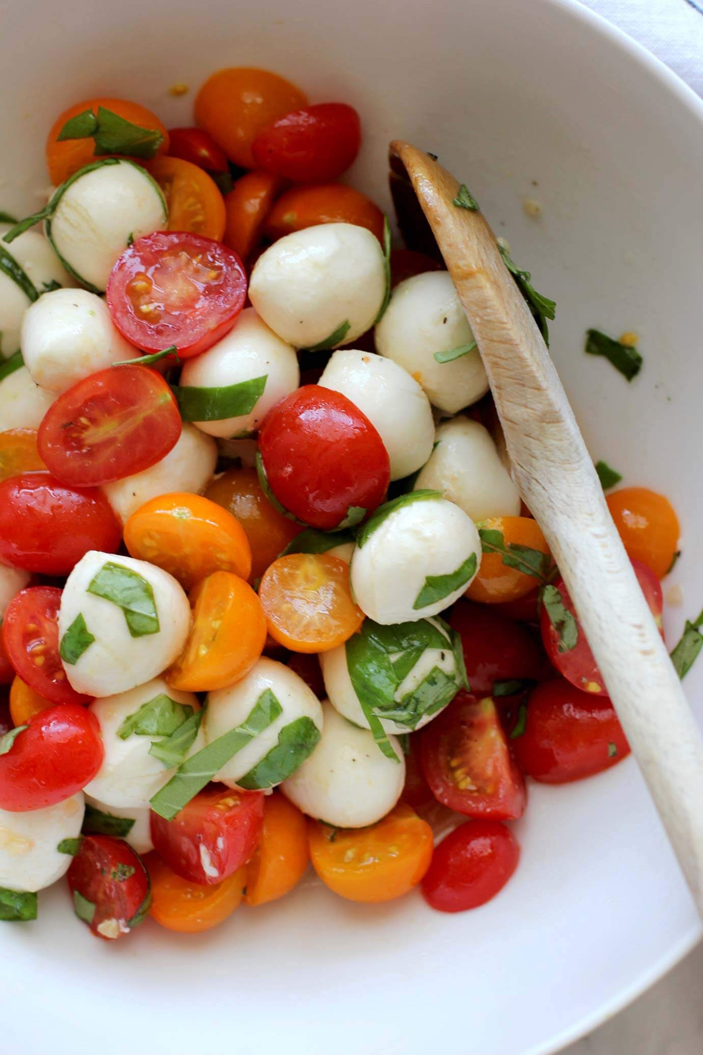 Close up of fresh mozzarella and tomato salad.